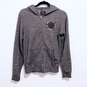 Obey   gray embroidered hooded jacket
